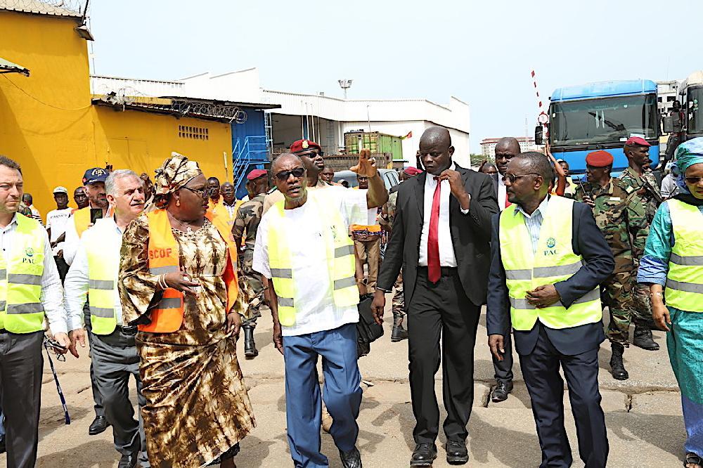 Le président Alpha Condé au Port Autonome de Conakry s''enquérir de l'état d'avancement des travaux