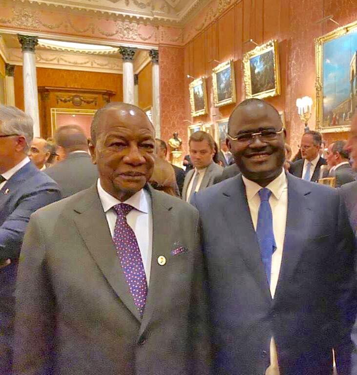 Arrêt sur image: le patron de Guicpres, Kerfalla Camara ( KPC ) au côté du président Condé à Londres