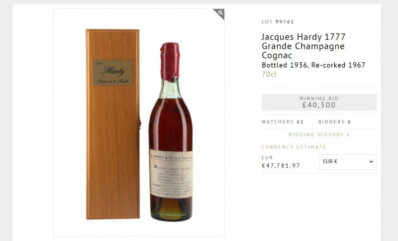 France: un cognac de 245 ans vendu à plus de 45  000 euros