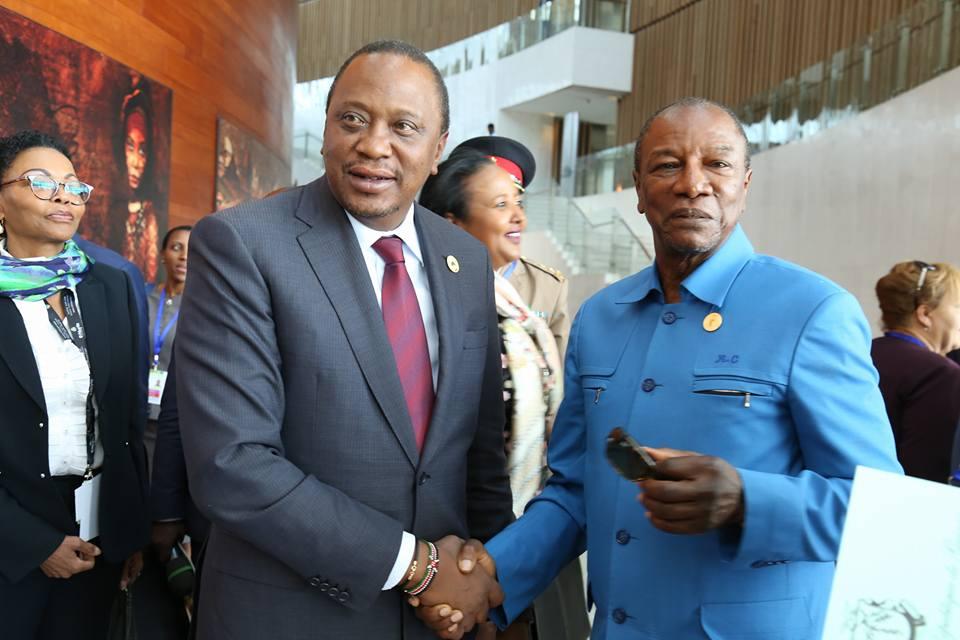 Addis Abeba: Alpha Condé rencontre le président du Kénya ( photos )